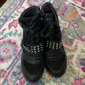 Bakers Black Studded Sneaker Zip up Wedge